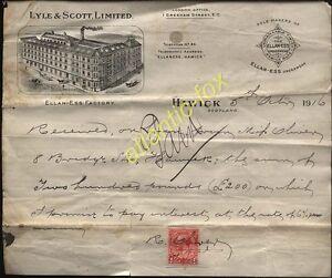1916 HAWICK, LYLE & SCOTT LTD. UNDERWEAR MANUFACTURERS, 2 X LETTERHEADS, ILLUSTd