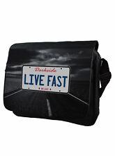 Live Fast Numberplate Genuine Darkside Messenger Bag Laptop Bag School Bag