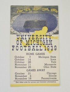 University of Michigan 1939 Football Schedule (Not Program!) ORIGINAL!