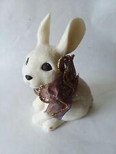 "Sarah's Attic Sitting Bunny Rabbit Brown Gold Tone Shimmer Bow 3 3/4"" Tall"