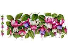 """1 Fuchsia Flower Wrap Wraparound 7 1/2"""" X 3 1/2"""" Waterslide Ceramic Decal Bx"""