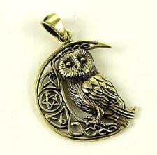 **BRONZE CRESCENT MOON & WISE OLD OWL PENDANT & WAXED CORD NECKLACE**