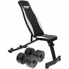MIRAFIT Adjustable Folding Weight Bench & 30kg Dumbbells Flat/Incline Training