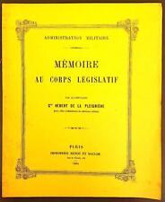 MEMOIRE AU CORPS LEGISLATIF par le Chevalier Gve HEBERT DE LA PLEIGNIERE.