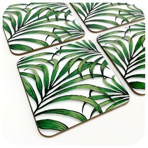 Palm Leaf Coasters - set of 4, Tropical Coasters, Tiki Bar Accessories