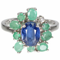 Unheated Oval Blue Kyanite 8x6mm Emerald Cz 925 Sterling Silver Ring
