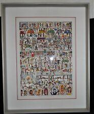 "1989 James Rizzi ""Women Who Workout"" Large 3-D Artwork Signed & Framed Superb"