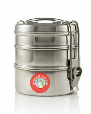 3 Tier - Authentic Indian Tiffin Lunch Box Stainless Steel - FREE P&P (3t7b3)