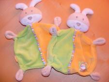 Set aus 2 x Babydream Schmusetuch Hase grün / orange