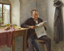 """Nice Oil painting old man portrait with glasses reading newspaper by window 36"""""""