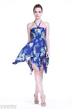Gypsy Sexy Hawaiian Halter Party Cruise Luau Pool Blue Hibiscus Dress S M L