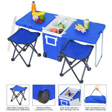 Blue Small Wheeled Rolling Cooler Wheels Ice Picnic Camping w/ Table & 2 Chairs