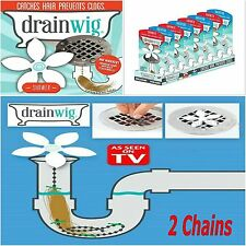2 Chains  DRAINWIG SHOWER Drain Wig Cleaner Hair Clog Remover catcher Tools
