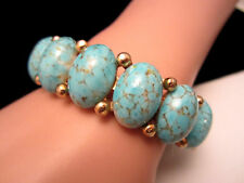 Rare Vtg Signed HAR Gold Tone Blue Dragon's Egg Glass Stone Clamper Bracelet A47