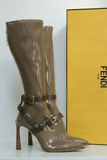 New sz 10.5 / 41 Fendi Beige Patent Leather Pointed toe Logo buckle boots Shoes