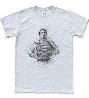 Super Man Sketch Retro Art T-shirt DC Comic Tee Hipster Clark Metropolis Kent