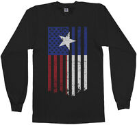 Texas American Flag Men's Long Sleeve T-Shirt Lone Star State