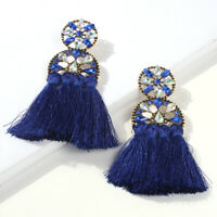 Jewelry Bohemian Earrings Fashion Women Dangle Boho Tassel Ear Stud Crystal