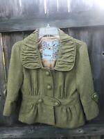 Anthropologie Tabitha Coat Size 4 Small Green Woven Jacket