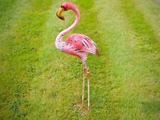 New Handmade Metal PINK FLAMINGO Statue ornament for HOME GARDEN or POND