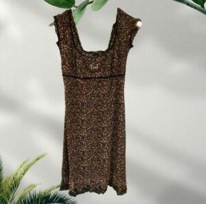 VTG Vintage Liu Jo Jeans Girly Floaty Embellished Floral Dress IT 46