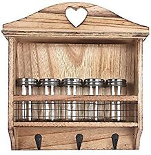Wooden Wall Hanging Kitchen Herb Spice Rack With 5 Glass Screwtop Jars And Hooks