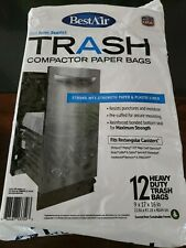 Compactor Bag Heavy Duty Trash Wet Strength Paper Plastic Liner Precuffed Mount