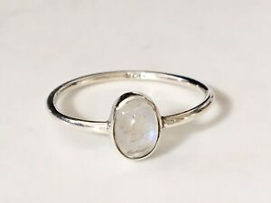 Sterling Silver Rainbow Moonstone Ring Stackable Gemstone Size 5 6 7 89 10 11 12