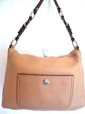 bcac9ea7bd Coach 8A39 Chelsea Tan Pebbled Leather Brown Turnlock Top Hobo Shoulder Bag