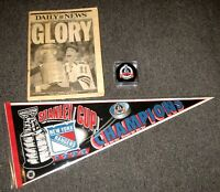 1994 NEW YORK RANGERS STANLEY CUP CHAMPIONS PENNANT PUCK & DAILY NEWS NEWSPAPER