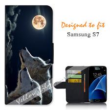 Samsung Galaxy S7 Wallet Flip Phone Case Cover Wolf Clouds Y00768
