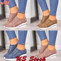 Women's Casual Slip On Wedge Sneaker Girls Wedge Heel hollow Breathable Shoes US
