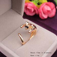 Cute Bague Cat Vintage Retro Ajustable acero Couleur Gold Silver Plated Ring QN