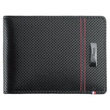 S.T. Dupont McLaren $350 Black Perforated Leather Wallet Red Stitching 170401MC