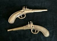 Vintage Brass Pair Of Wall Hanging Decorative Mancave Pistol Guns