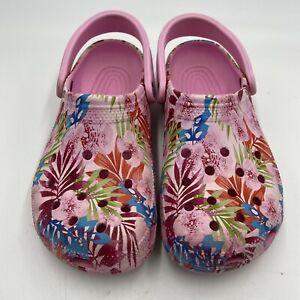 Crocs Classic Floral Garden Clogs Roomy Fit  Women's Size 8 Pink