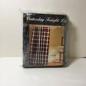 Red Green Blue Natural Plaid Woven Shower Curtain Saturday Knight Cotton