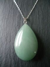 """Aventurine Pendant Necklace 925 Sterling Silver 18"""" Chain Healing Crystal Gift"""