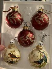Glas Baumschmuck Vintage Christmas Baubles Boxed 5 Balls Stunning Birds