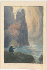 "Erwin Stolz (1896-1987), ""Wistful Wise Man"", Watercolor, 1920's"