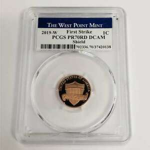 2019 W US Lincoln Shield Penny 1c Cent PCGS PR70RD DCAM First Strike Coin NR0138