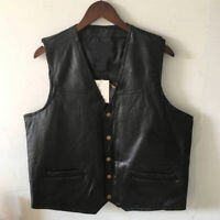 Mens Genuine Leather Vest Motorcycle Jackets Sleeveless Waistcoat Casual Tops