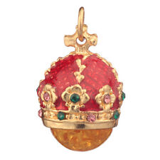 Faberge Egg Pendant / Charm Crown with crystals 2.4 cm red #0801-05