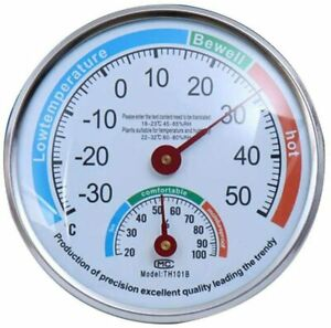 Greenhouse Baby Room Sauna Thermometer Wall Pointer Hygrometer Indoor & Outdoor