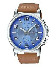 Casio MTP-E313L-2B2V Men's Enticer Leather Band Multifunction Blue Dial Watch