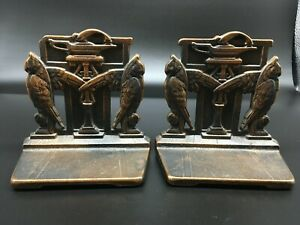 ARTS AND CRAFTS ERA EGYPTIAN REVIVAL OWL BOOKENDS