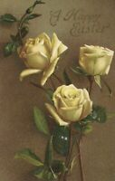 Raphael Tuck Antique Happy Easter Yellow Roses Floral Flower Art Postcard #1000