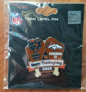 2015  DENVER BRONCOS vs CHICAGO BEARS 11/22/15 GAME DAY PIN   Free Shipping