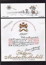 PAUILLAC 1EGCC ETIQUETTE CHATEAU MOUTON ROTHSCHILD 1950 75 CL DECOREE §06/02/17§
