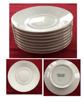 Robert Stanley Dinnerware Saucers HOME FOR CHRISTMAS Ivory, Gold Trim 8-PC Set